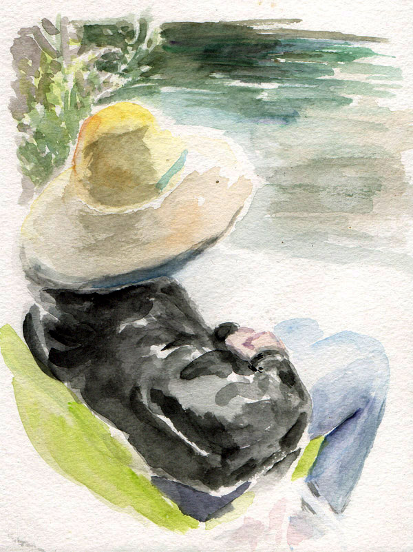Woman with a hat, by the pond - watercolor by Stephen Michael Barnes